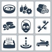 pic of sauna  - Vector isolated spa and beauty icons set - JPG