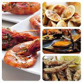collage of different spanish seafood tapas, such as boquerones fritos, gambas al ajillo or mejillone