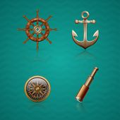 stock photo of steers  - set of icons on the marine theme - JPG
