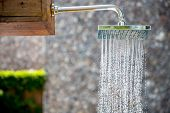 foto of water jet  - water from rain shower outdoor - JPG