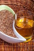 stock photo of flax seed oil  - Close look to the Linseeds  - JPG