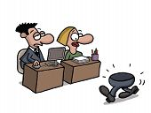 pic of gag  - Cartoon gag about a part time office worker - JPG