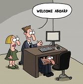 stock photo of shy woman  - Cartoon gag about a new male office staff is shy and hiding under the desk - JPG