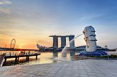 stock photo of marina  - Sunrise in the morning at Singapore Marina Bay - JPG