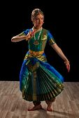 foto of bharatanatyam  - Young beautiful woman dancer exponent of Indian classical dance Bharatanatyam - JPG
