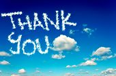 stock photo of appreciation  - Interesting cloudscape and clear sky with thank you letters - JPG