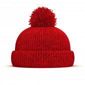 picture of knitted cap  - 3d red knitted winter cap on white background - JPG