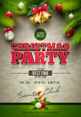 Vector Christmas Party design template. Elements are layered separately in vector file.