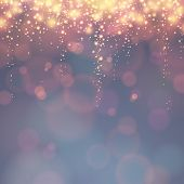 image of descending  - holiday background with festive descending lights and bokeh - JPG