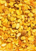 Yellow Raisins May Use As Textured Background, Close Up. Huge Golden Raisins, Top View.