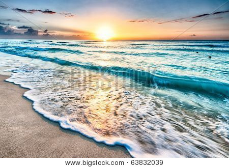 Sunrise over beach in Cancun poster