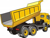 stock photo of dump  - trhe rear construction  dump truck for loose material - JPG