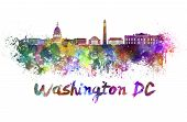 stock photo of washington skyline  - Washington DC skyline in watercolor splatters with clipping path - JPG