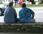 pic of obese man  - An overweight couple are forced to sit down and rest after only walking a short distance - JPG