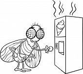 stock photo of poo  - Black and White Cartoon Illustration of Funny Fly and Vending Machine with Poo Snack for Coloring Book - JPG