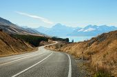 image of long winding road  - Scenic Road to Mount Cook National Park - JPG
