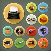 pic of pistol  - Universal long shadow retro icon set - JPG
