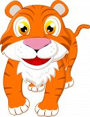 foto of white tiger cub  - Illustration of cute tiger standing on white - JPG