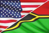 Постер, плакат: Series Of Ruffled Flags Usa And Republic Of Vanuatu