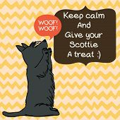 pic of scottie dog  - Cute card template with sketch of a sweet sitting Scottish terrier and figure frames for the text on doodle chevron background - JPG