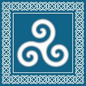stock photo of celtic  - Ancient symbol triskelion or triskele traditional element typical for celtic  - JPG