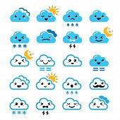 stock photo of snow clouds  - Funny cartoon icons set of clouds with sun - JPG
