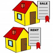 stock photo of rental agreement  - Cartoon illustration showing a sale and a rental agreement on top of a house - JPG