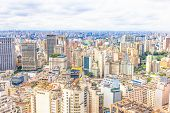 stock photo of polution  - Aerial view of the city of Sao Paulo - JPG