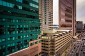 picture of pov  - View of skyscrapers along Lombard Street from a parking garage in Baltimore Maryland - JPG