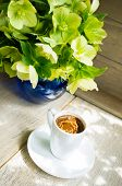 picture of helleborus  - helleborus flowers in the vase and cup of coffee on the old table - JPG
