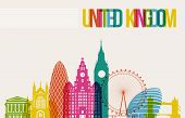 stock photo of world-famous  - Travel United Kingdom famous landmarks skyline multicolored design background - JPG