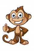 picture of chimp  - A cartoon illustration of a cheeky monkey character - JPG