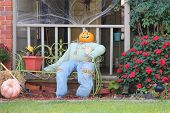 stock photo of scarecrow  - Scarecrow decorations for upcoming Halloween - JPG