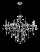 stock photo of chandelier  - Contemporary glass chandelier isolated over black background - JPG