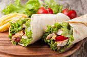 picture of sandwich wrap  - Chicken fajita wrap sandwich - JPG