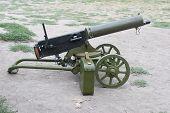 foto of maxim  - WWI Maxim machine gun isolated on white background - JPG