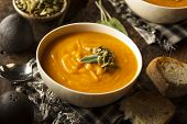 picture of butternut  - Homemade Autumn Butternut Squash Soup with Bread - JPG
