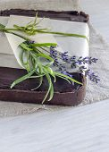 picture of tarts  - Chocolate tart with halva decorated with lavender flowers - JPG