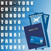 Airline ticket, credit card and passport on scoreboard background. Flight destination, information display board named world cities Illustration.  poster