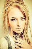 foto of manga  - Portrait of a modern teenage girl with trendy dreadlocks - JPG