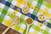 pic of chamomile  - Fresh chamomile flowers and dried chamomile flowers on wooden spoons on checkered cloth - JPG
