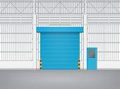 image of roller shutter door  - Illustration of shutter door and steel door inside factory blue color - JPG