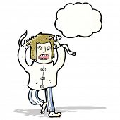 stock photo of straight jacket  - cartoon insane man - JPG