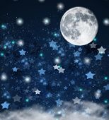 stock photo of blue moon  - blue christmas  and new years stars  on blue  with full moon and clouds background - JPG