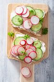 pic of radish  - healthy sandwich with radish cucumber and cream cheese  - JPG