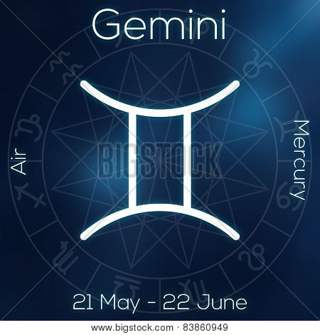 Zodiac Sign Gemini White Line Astrological Symbol With Caption