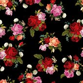 stock photo of orange  - Abstract seamless floral pattern with white pink red and orange roses on black background - JPG