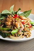 image of lo mein  - Thai food shrimp stir fry with lo mein noodles Shallow depth of field - JPG