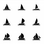 pic of meals wheels  - Vector sailboat icon set on white background - JPG