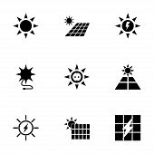 picture of solar battery  - Vector solar energy icon set on white background - JPG
